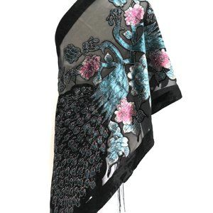 Silk Burnout Velvet Peacock Shawl Wrap Scarf